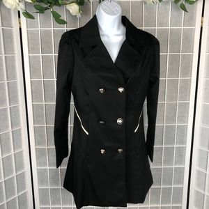 Hancy Women's Black Double Breasted Trench Coat
